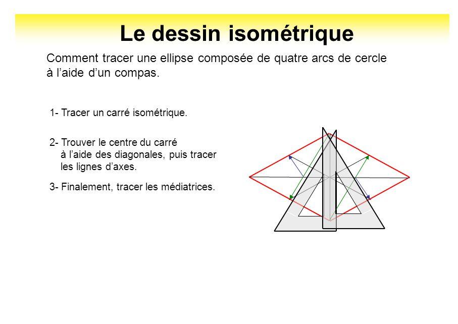 Le dessin isométrique Comment tracer une ellipse composée de quatre arcs de cercle. à l'aide d'un compas.