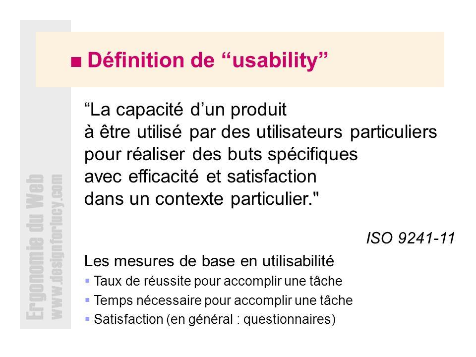  Définition de usability