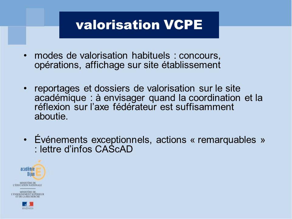 valorisation VCPE modes de valorisation habituels : concours, opérations, affichage sur site établissement.