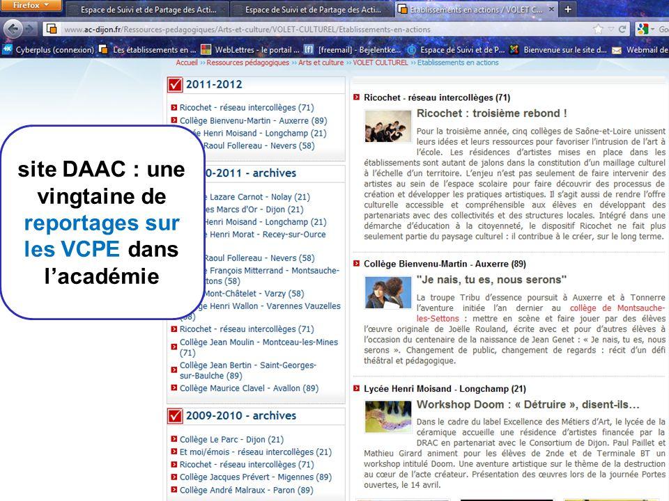 site DAAC : une vingtaine de reportages sur les VCPE dans l'académie