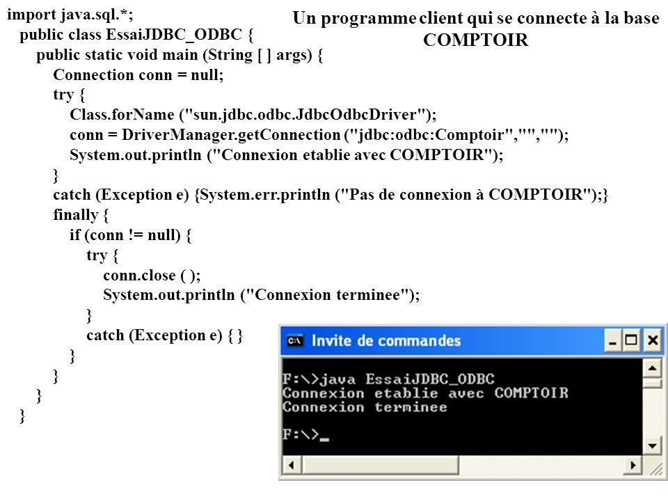 Un programme client qui se connecte à la base COMPTOIR