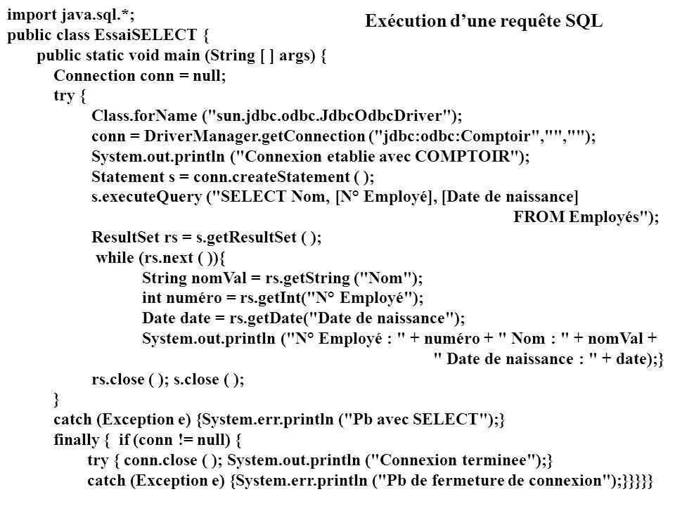 Exécution d'une requête SQL