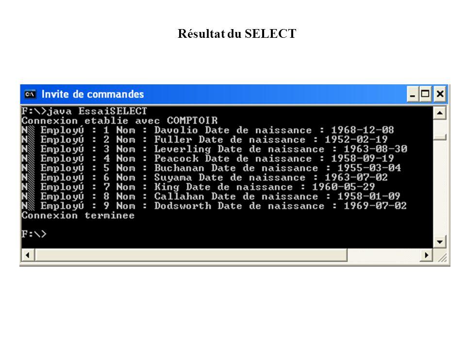 Résultat du SELECT Résultat du SELECT