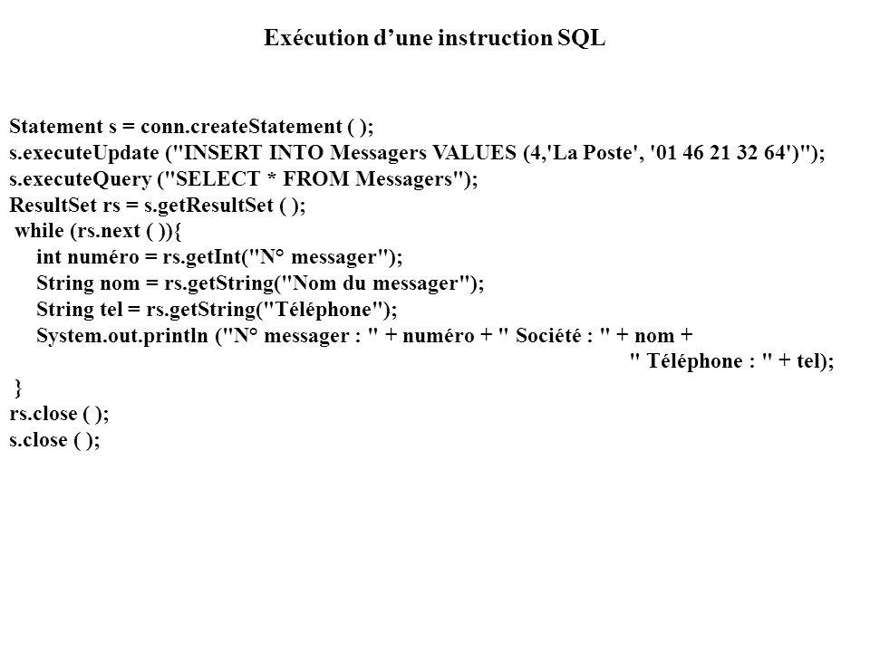 Exécution d'une instruction SQL