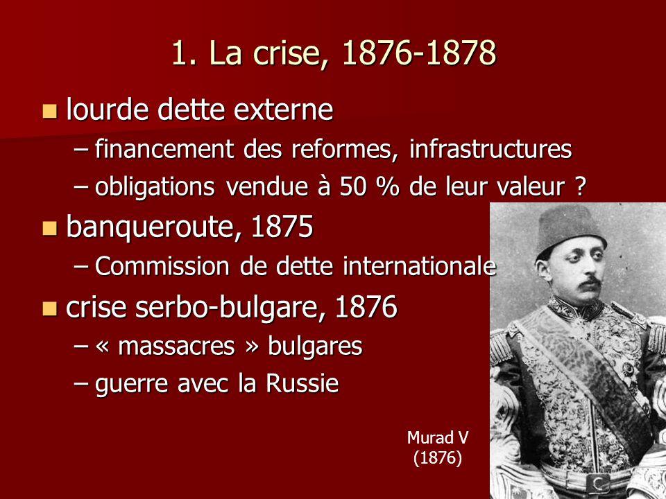 1. La crise, 1876-1878 lourde dette externe banqueroute, 1875