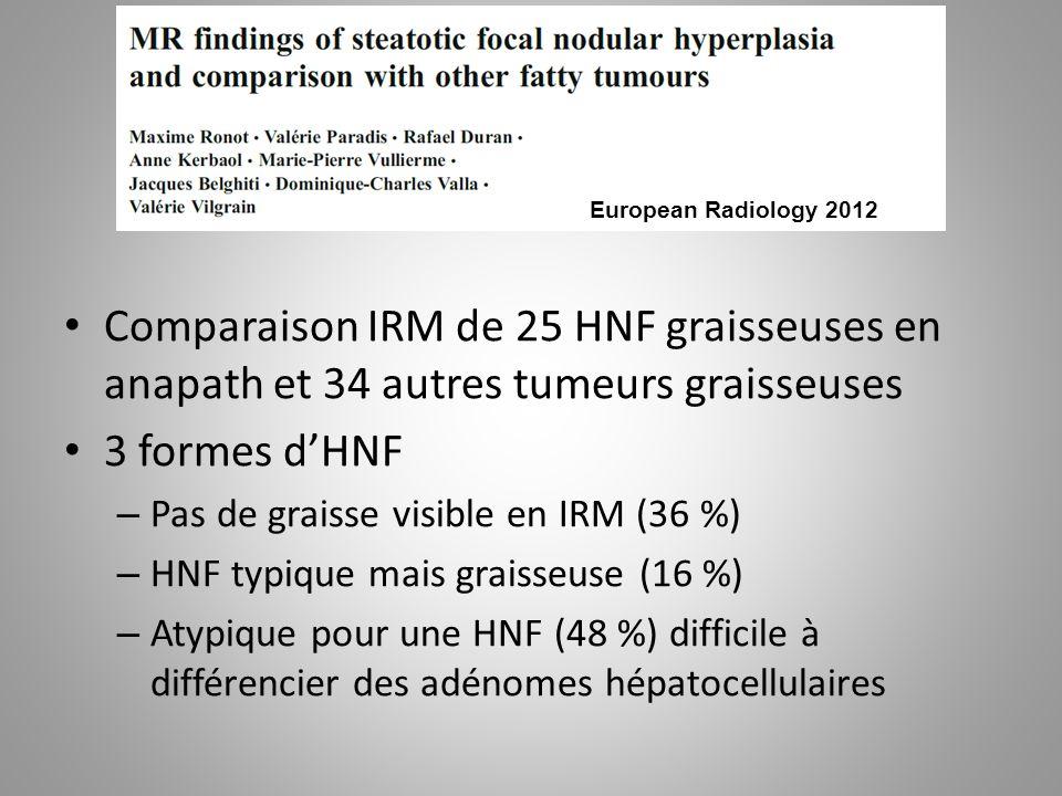 European Radiology 2012 Comparaison IRM de 25 HNF graisseuses en anapath et 34 autres tumeurs graisseuses.