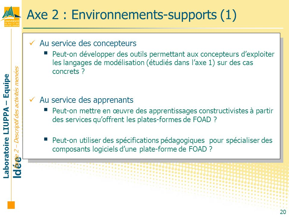 Axe 2 : Environnements-supports (1)