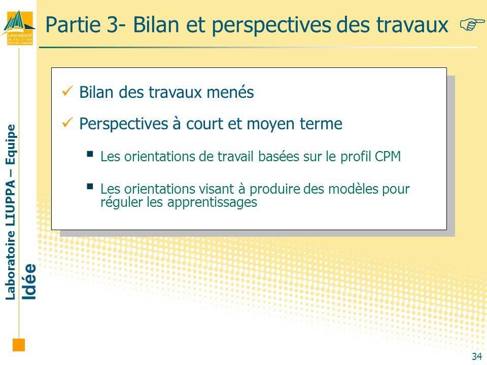 Partie 3- Bilan et perspectives des travaux
