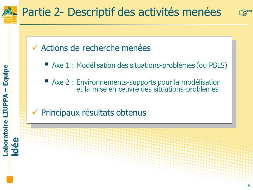 Partie 2- Descriptif des activités menées