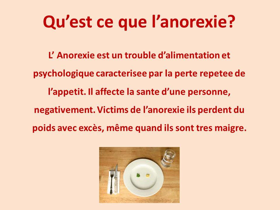 Qu'est ce que l'anorexie