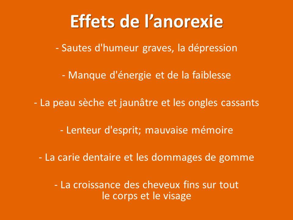 Effets de l'anorexie - Sautes d humeur graves, la dépression
