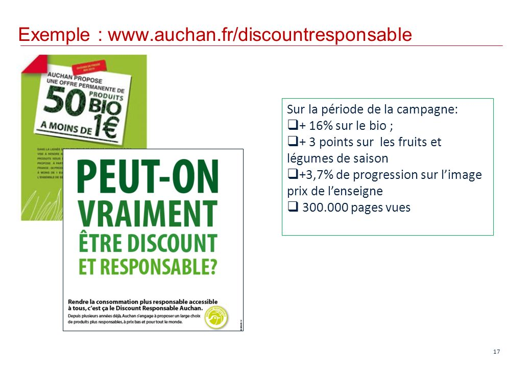 Exemple : www.auchan.fr/discountresponsable
