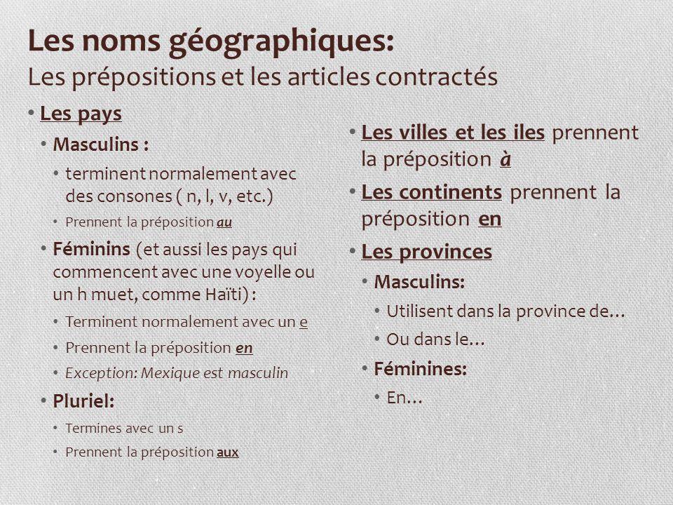 Les noms géographiques: Les prépositions et les articles contractés