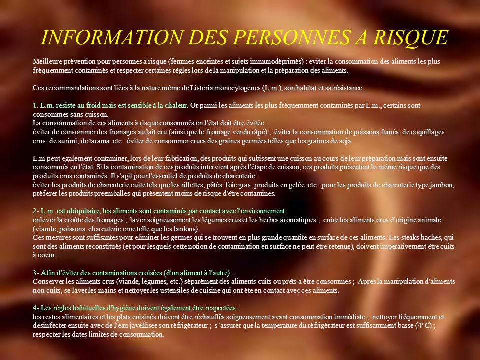 INFORMATION DES PERSONNES A RISQUE