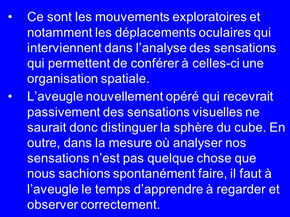Ce sont les mouvements exploratoires et notamment les déplacements oculaires qui interviennent dans l'analyse des sensations qui permettent de conférer à celles-ci une organisation spatiale.