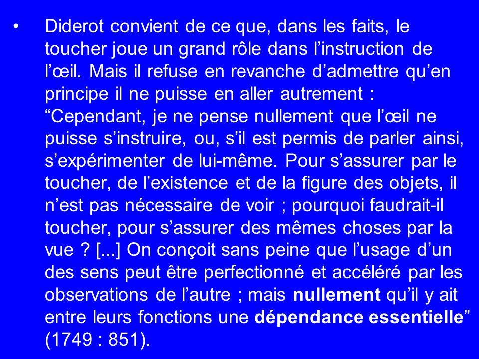 Diderot convient de ce que, dans les faits, le toucher joue un grand rôle dans l'instruction de l'œil.
