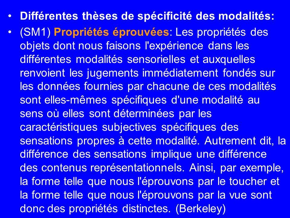 Différentes thèses de spécificité des modalités:
