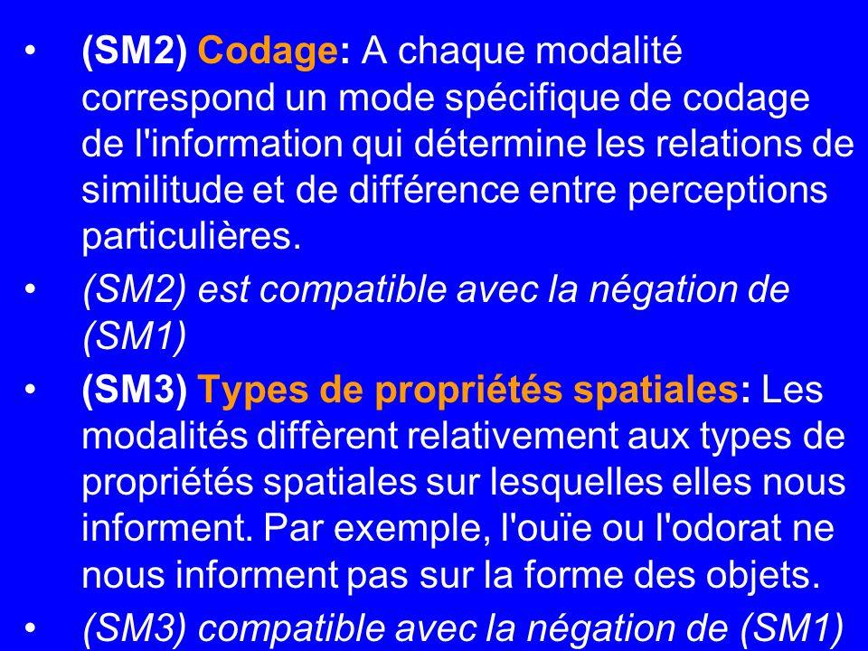 (SM2) Codage: A chaque modalité correspond un mode spécifique de codage de l information qui détermine les relations de similitude et de différence entre perceptions particulières.