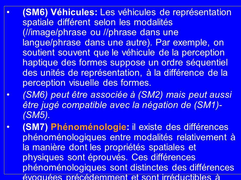 (SM6) Véhicules: Les véhicules de représentation spatiale différent selon les modalités (//image/phrase ou //phrase dans une langue/phrase dans une autre). Par exemple, on soutient souvent que le véhicule de la perception haptique des formes suppose un ordre séquentiel des unités de représentation, à la différence de la perception visuelle des formes.