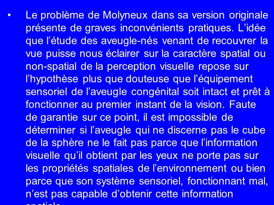 Le problème de Molyneux dans sa version originale présente de graves inconvénients pratiques.