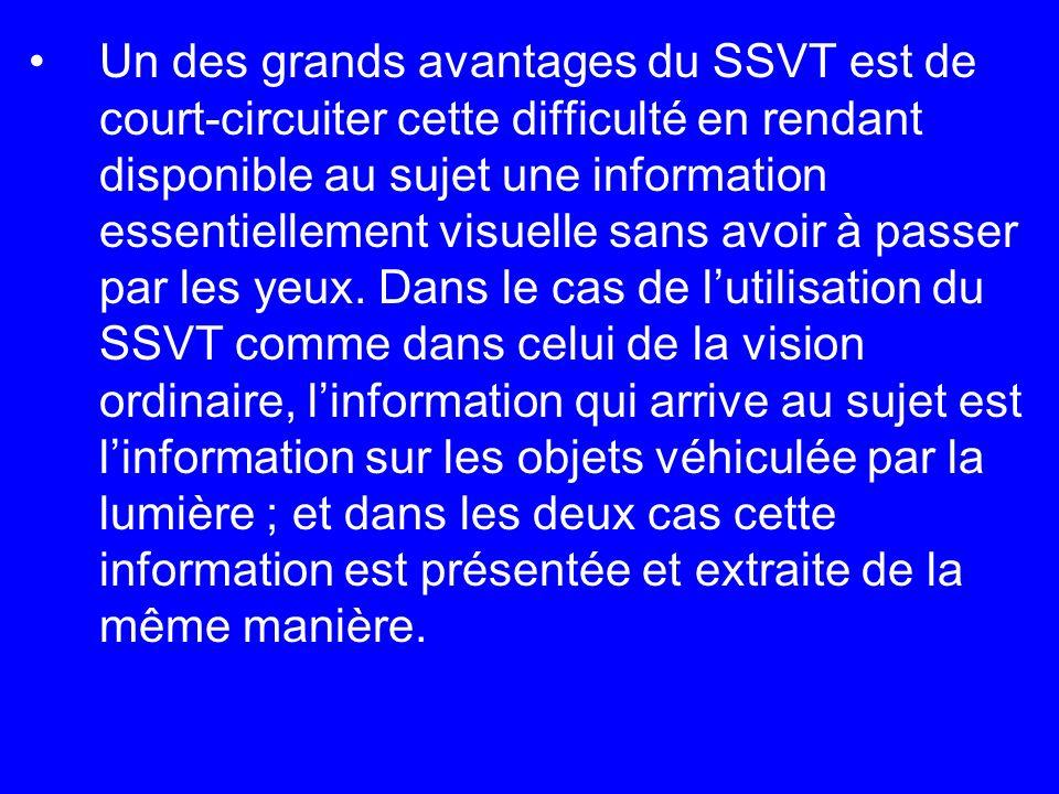 Un des grands avantages du SSVT est de court-circuiter cette difficulté en rendant disponible au sujet une information essentiellement visuelle sans avoir à passer par les yeux.