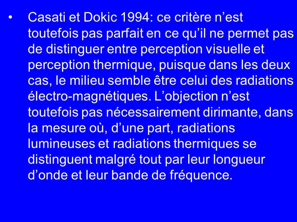 Casati et Dokic 1994: ce critère n'est toutefois pas parfait en ce qu'il ne permet pas de distinguer entre perception visuelle et perception thermique, puisque dans les deux cas, le milieu semble être celui des radiations électro-magnétiques.