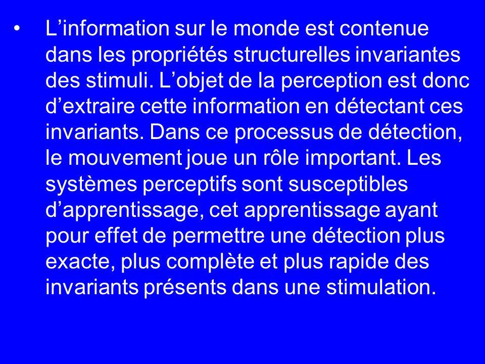 L'information sur le monde est contenue dans les propriétés structurelles invariantes des stimuli.