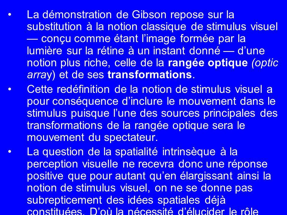 La démonstration de Gibson repose sur la substitution à la notion classique de stimulus visuel — conçu comme étant l'image formée par la lumière sur la rétine à un instant donné — d'une notion plus riche, celle de la rangée optique (optic array) et de ses transformations.