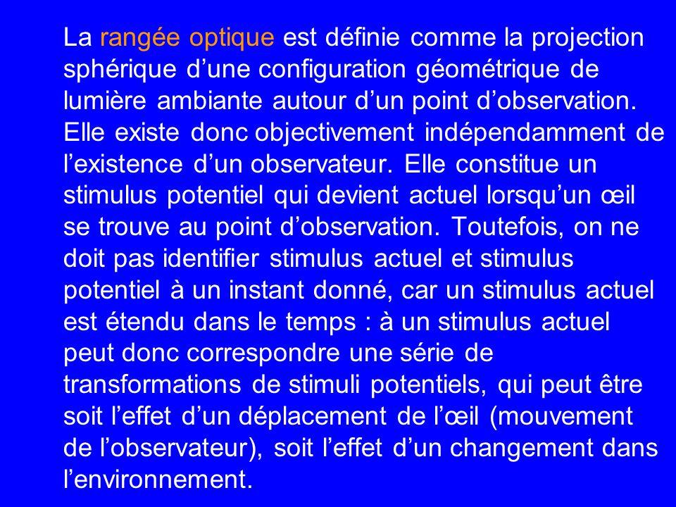 La rangée optique est définie comme la projection sphérique d'une configuration géométrique de lumière ambiante autour d'un point d'observation.