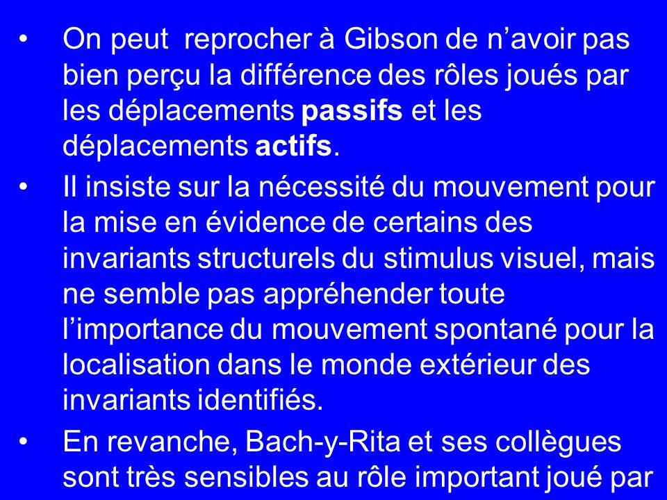 On peut reprocher à Gibson de n'avoir pas bien perçu la différence des rôles joués par les déplacements passifs et les déplacements actifs.