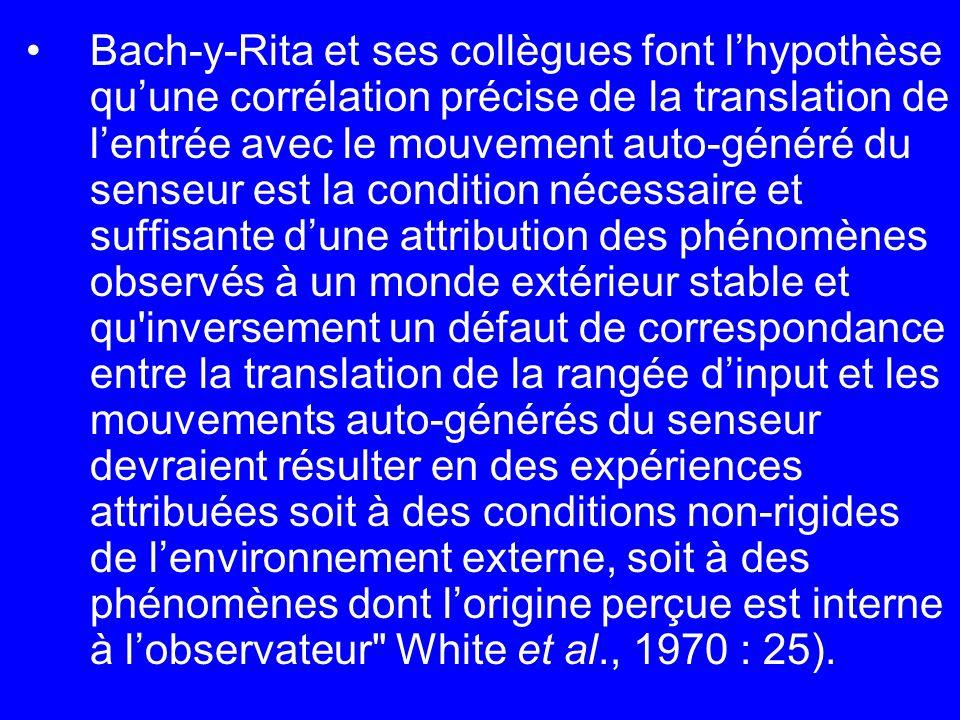 Bach-y-Rita et ses collègues font l'hypothèse qu'une corrélation précise de la translation de l'entrée avec le mouvement auto-généré du senseur est la condition nécessaire et suffisante d'une attribution des phénomènes observés à un monde extérieur stable et qu inversement un défaut de correspondance entre la translation de la rangée d'input et les mouvements auto-générés du senseur devraient résulter en des expériences attribuées soit à des conditions non-rigides de l'environnement externe, soit à des phénomènes dont l'origine perçue est interne à l'observateur White et al., 1970 : 25).