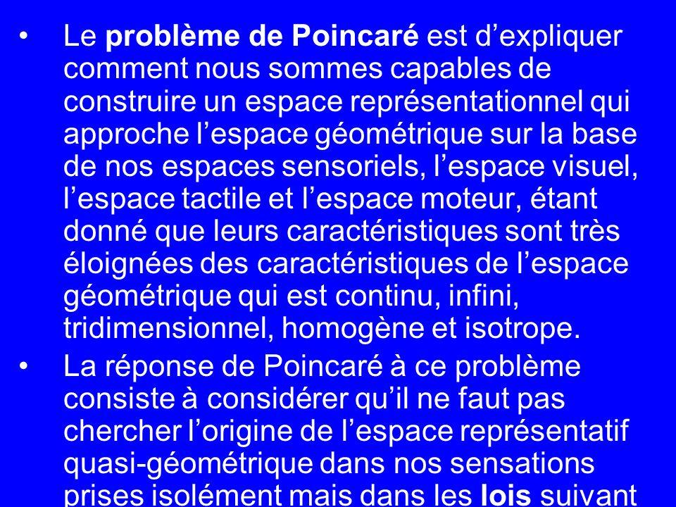 Le problème de Poincaré est d'expliquer comment nous sommes capables de construire un espace représentationnel qui approche l'espace géométrique sur la base de nos espaces sensoriels, l'espace visuel, l'espace tactile et l'espace moteur, étant donné que leurs caractéristiques sont très éloignées des caractéristiques de l'espace géométrique qui est continu, infini, tridimensionnel, homogène et isotrope.
