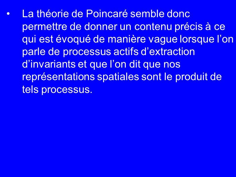 La théorie de Poincaré semble donc permettre de donner un contenu précis à ce qui est évoqué de manière vague lorsque l'on parle de processus actifs d'extraction d'invariants et que l'on dit que nos représentations spatiales sont le produit de tels processus.
