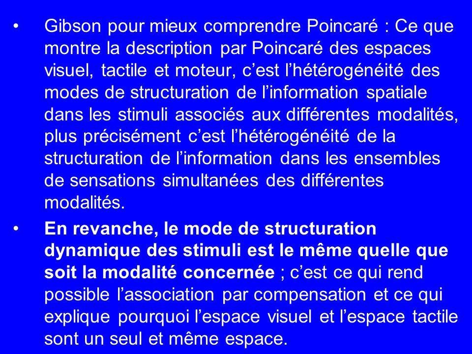 Gibson pour mieux comprendre Poincaré : Ce que montre la description par Poincaré des espaces visuel, tactile et moteur, c'est l'hétérogénéité des modes de structuration de l'information spatiale dans les stimuli associés aux différentes modalités, plus précisément c'est l'hétérogénéité de la structuration de l'information dans les ensembles de sensations simultanées des différentes modalités.