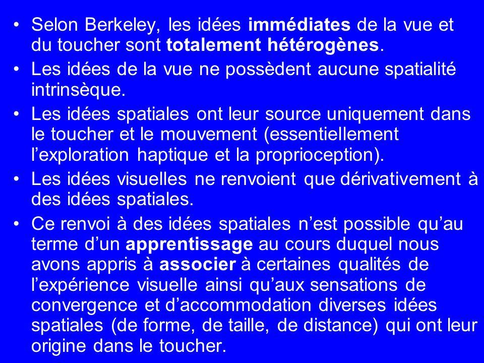 Selon Berkeley, les idées immédiates de la vue et du toucher sont totalement hétérogènes.