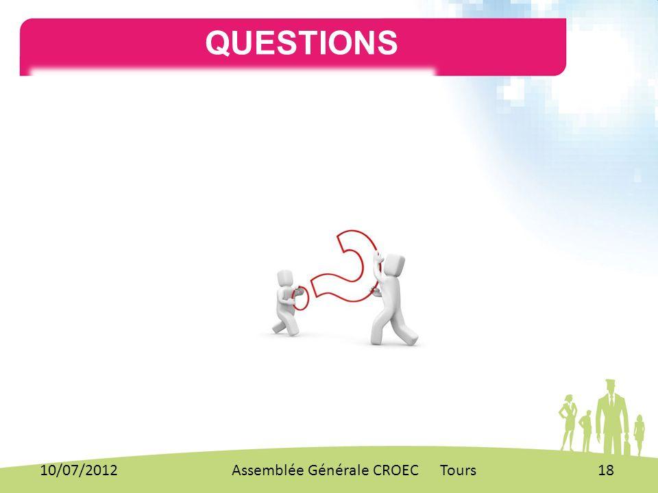QUESTIONS . 10/07/2012 Assemblée Générale CROEC Tours