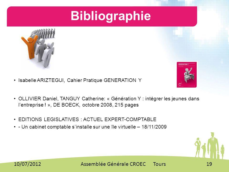 Bibliographie 10/07/2012 Assemblée Générale CROEC Tours