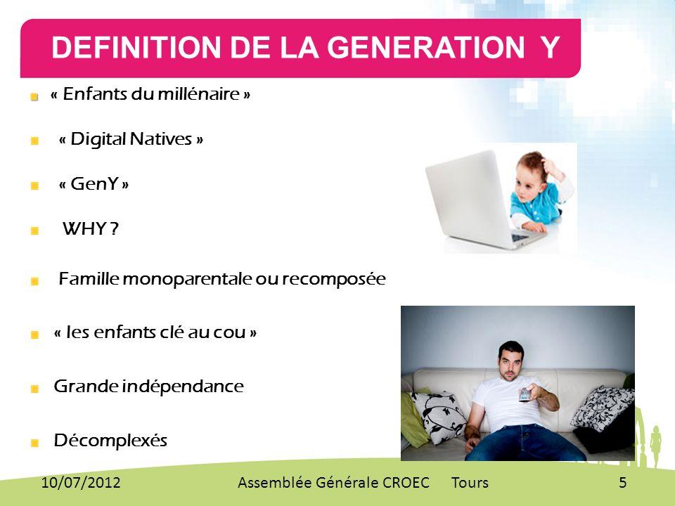DEFINITION DE LA GENERATION Y