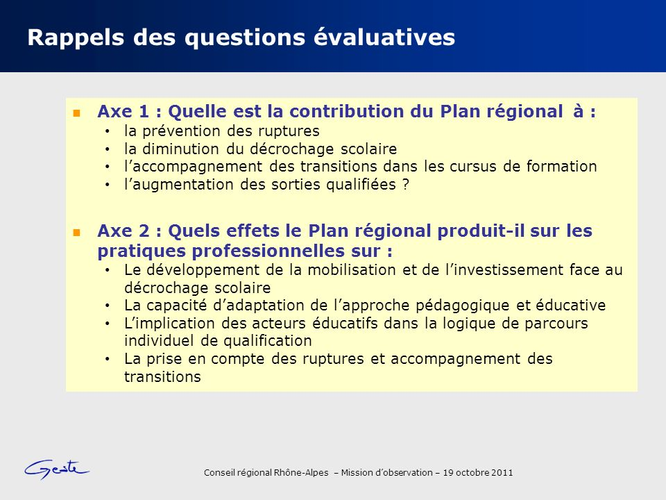 Rappels des questions évaluatives
