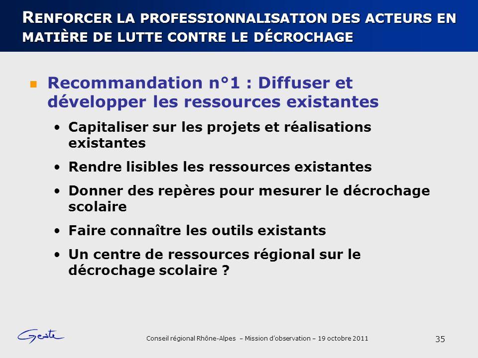 Recommandation n°1 : Diffuser et développer les ressources existantes