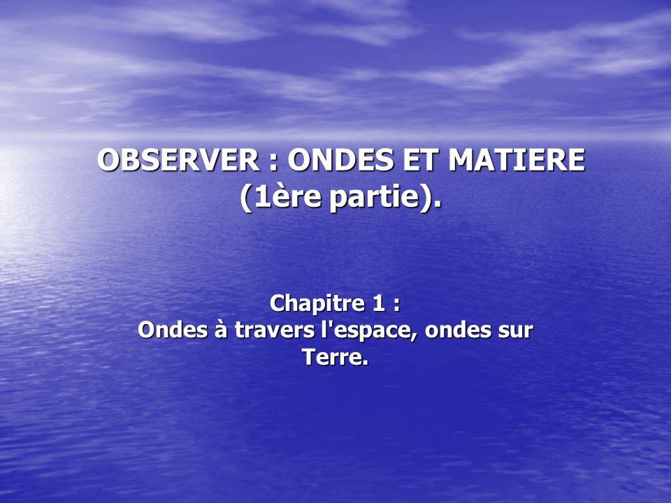OBSERVER : ONDES ET MATIERE (1ère partie).