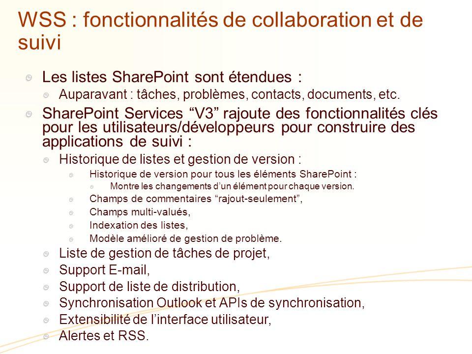 WSS : fonctionnalités de collaboration et de suivi