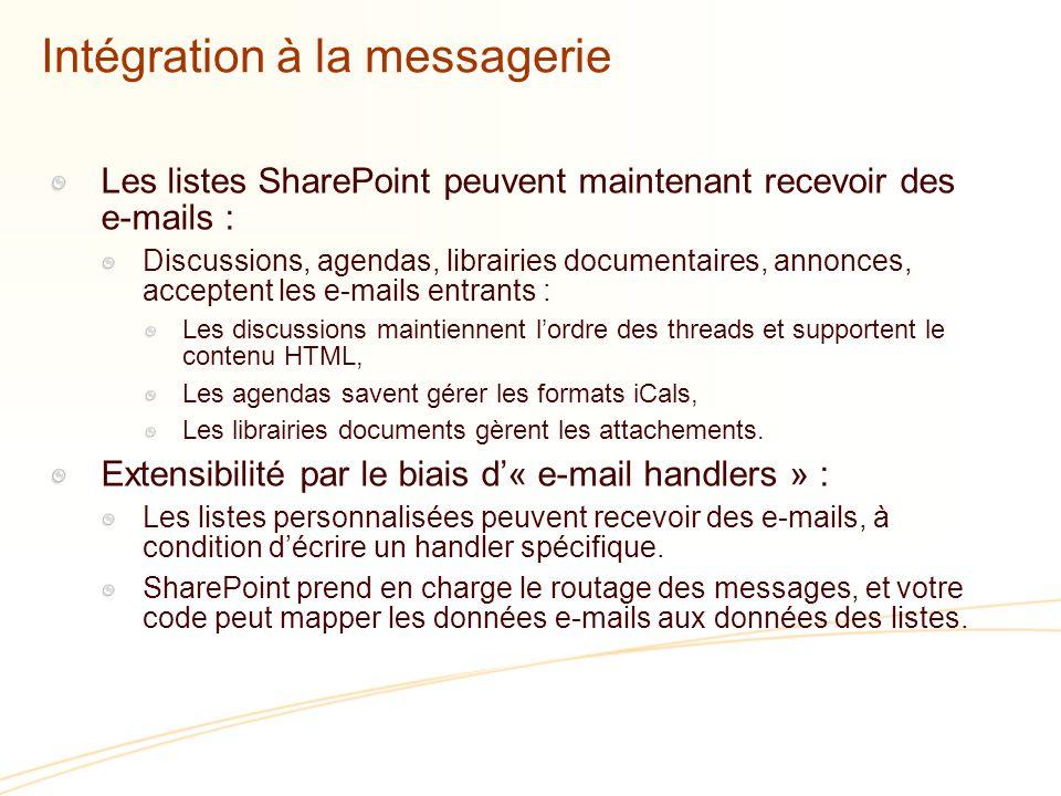 Intégration à la messagerie