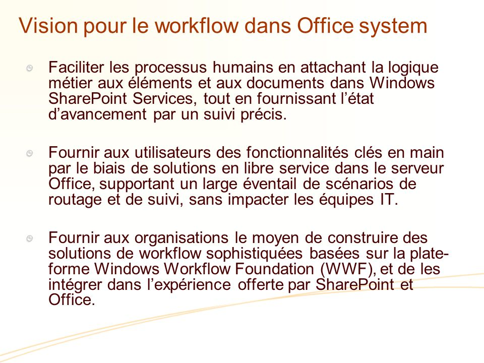 Vision pour le workflow dans Office system