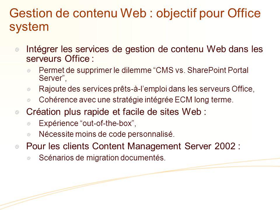 Gestion de contenu Web : objectif pour Office system
