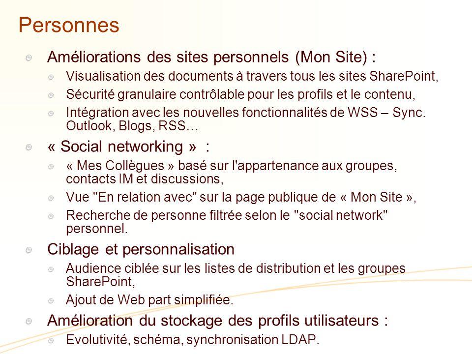 Personnes Améliorations des sites personnels (Mon Site) :