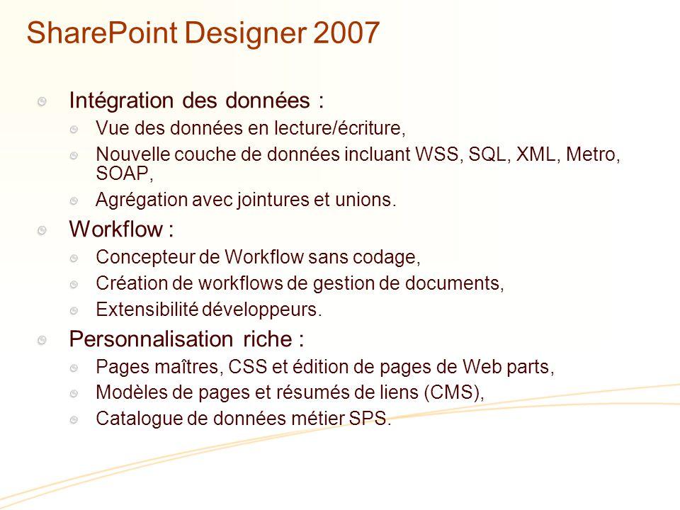 SharePoint Designer 2007 Intégration des données : Workflow :