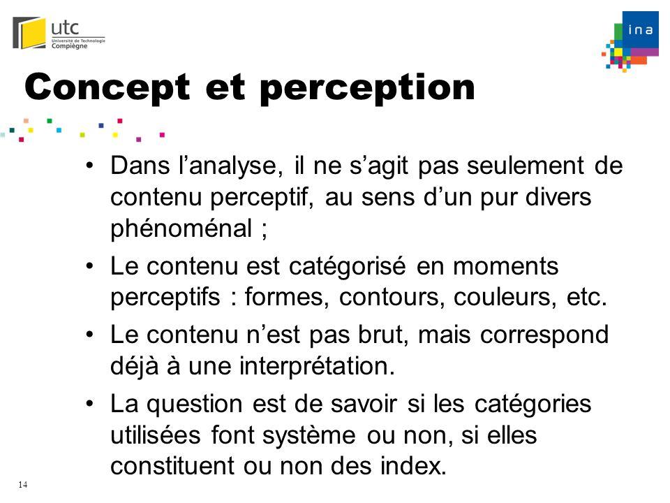 Concept et perception Dans l'analyse, il ne s'agit pas seulement de contenu perceptif, au sens d'un pur divers phénoménal ;