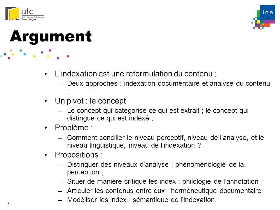 Argument L'indexation est une reformulation du contenu ;