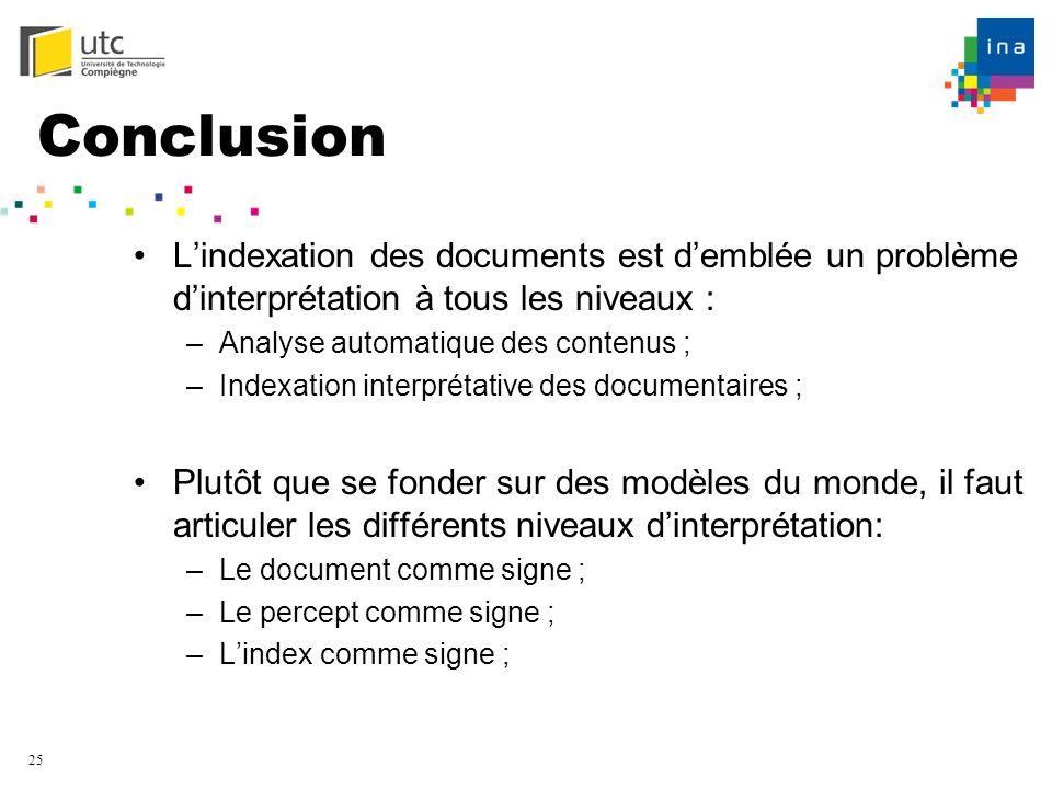Conclusion L'indexation des documents est d'emblée un problème d'interprétation à tous les niveaux :